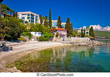 Lungomare famous waterfront walkway in Opatija view, Kvarner...
