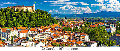 City of Ljubljana panoramic view, capital of Slovenia