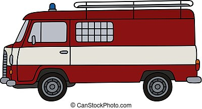 Old fire patrol minivan - Hand drawing of a classic red fire...