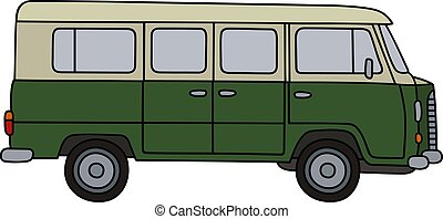 Old green minivan - Hand drawing of a retro green and cream...