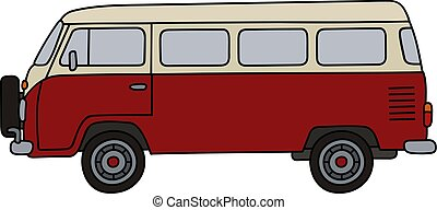 Old red minivan - Hand drawing of a classic red and cream...