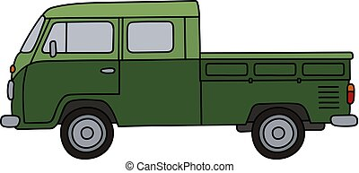 Old green minivan - Hand drawing of a classic green double...