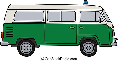 Classic police minivan - Hand drawing of a classic green and...