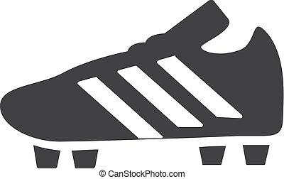 Soccer shoes icon in black on a white background. Vector...