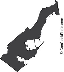 Monaco map in black on a white background. Vector...