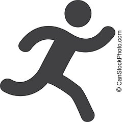 Runner icon in black on a white background. Vector illustration