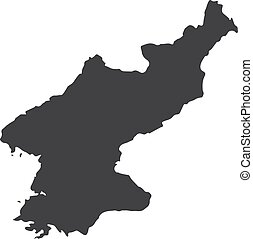 North Korea map in black on a white background. Vector...