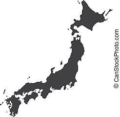 Japan map in black on a white background. Vector...