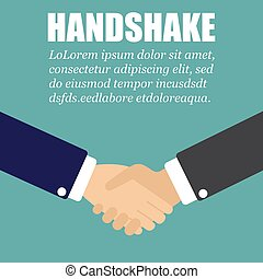 Handshake in a flat design. Two businessman in a suit