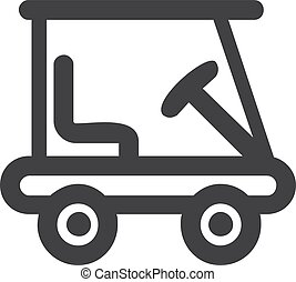 Golf car icon in black on a white background. Vector...