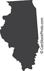 Illinois state map in black on a white background. Vector...