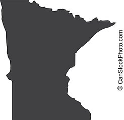 Minnesota state map in black on a white background. Vector...
