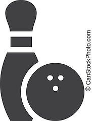 Bowling icon in black on a white background. Vector...