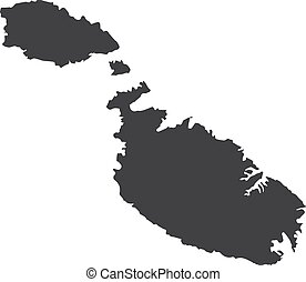 Malta map in black on a white background. Vector...