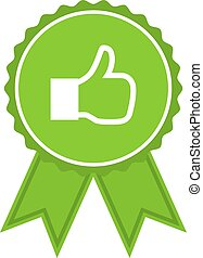 Green medal with like in a flat design