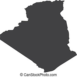 Algeria map in black on a white background. Vector...