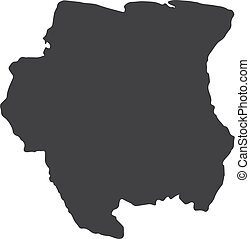 Suriname map in black on a white background. Vector...