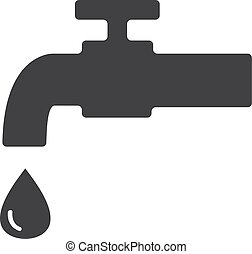 Faucet icon in black on a white background. Vector...