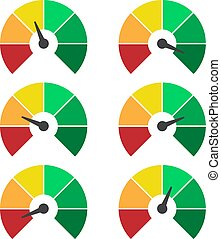 Set of measuring icons. Speedometer or rating meter signs infographic gauge elements