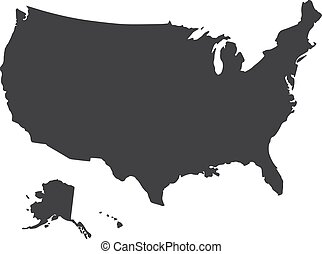 USA map in black on a white background. Vector illustration