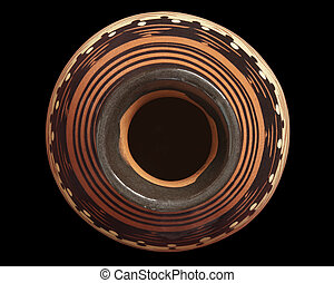 Vase top view - Top view of vase isolated on black...