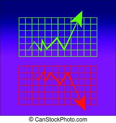 Abstract graph on blue- purple background