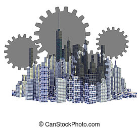 Rendered 3d city skyline with teamwork gears isolated on white background