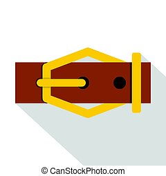 Brown leather belt icon, flat style - Brown leather belt...