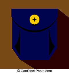 Blue jeans pocket with yellow button icon