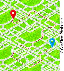 Detailed city map with GPS pins and route