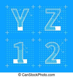 Construction sketches of Y Z 1 2 letters. Blueprint style font