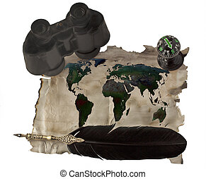 World map - Ancient paper with world map, old pen, binocular...