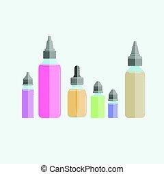 Set of vape e-liquids. Flat on white background. EPS10