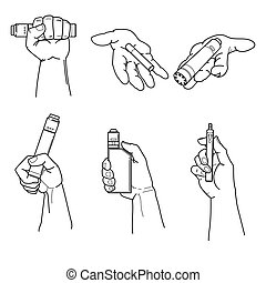 Set of hands holding vape devices and cigarette.