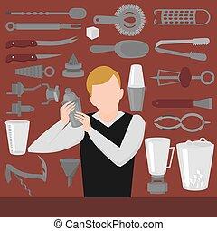 Flat Barman Mixing, Opening and Garnishing Tools. Bartender...
