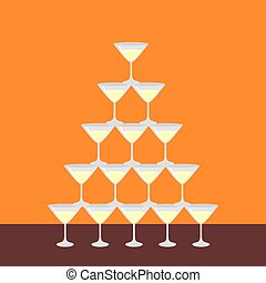 Flat pyramid of glass alcoholic martini, champagne with...