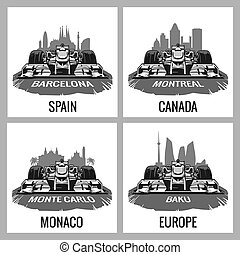 Set vintage poster Grand Prix. Barcelona, Spain, Montreal,...