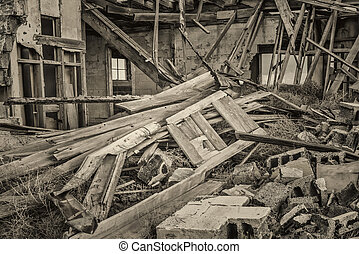 collapsed old wooden house - collapsed old house in a ghost...