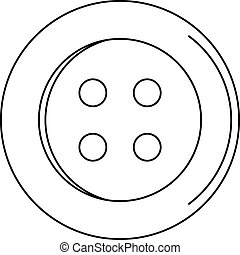 Sewing button icon, outline style - Sewing button icon....