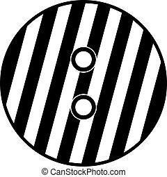 Striped sewing button icon, simple style - Striped sewing...