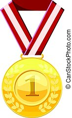 Gold first place medal on a red ribbon icon