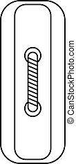 Rectangular sewing button icon, outline style - Rectangular...