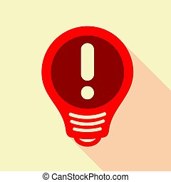 Red light bulb with exclamation mark inside icon. Flat...
