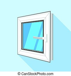 Square plastic window with blue sky glass icon