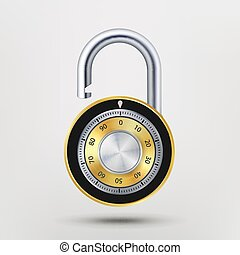 Combination Padlock, Realistic Metal Vector Illustration. For Safety Illustration. Security Concept. Metal Steel Lock For Safety And Privacy. Protection Concept