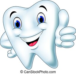 Cartoon tooth giving thumb up - Vector illustration of...
