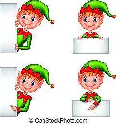 Set of cartoon elf with blank sign