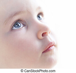 Child's face close up on a white background