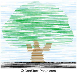 tree - Illustration of alone growing tree under the blue sky