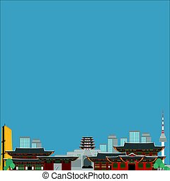 South Korea country design flat cartoon elements. Travel landmark, Seoul tourism place. World vacation travel city sightseeing Asia building collection. Asian architecture isolated